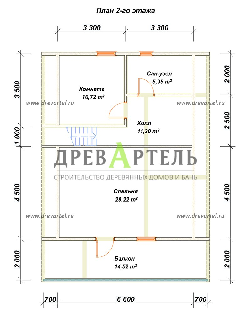 План 2-го этажа - Дом из бруса с мансардой 8х11