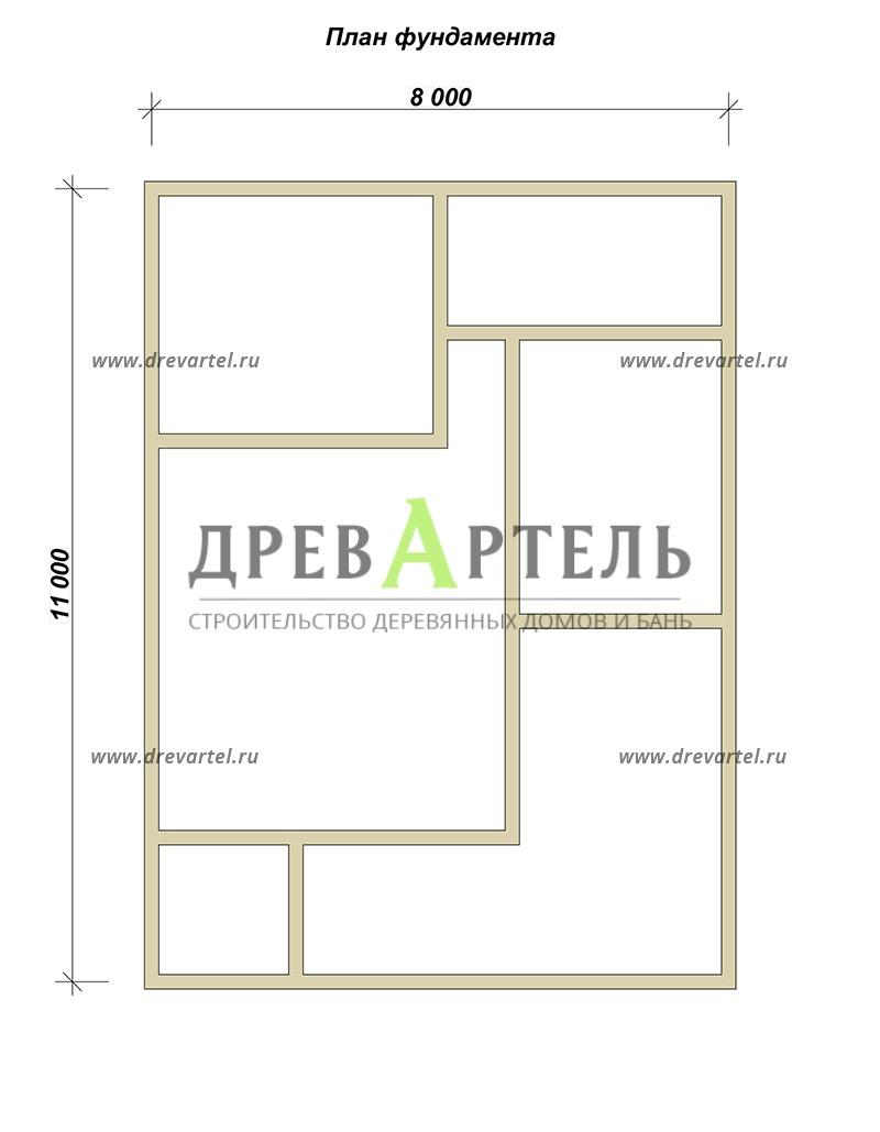 План ленточного фундамента - Дом из бруса с мансардой 8х11
