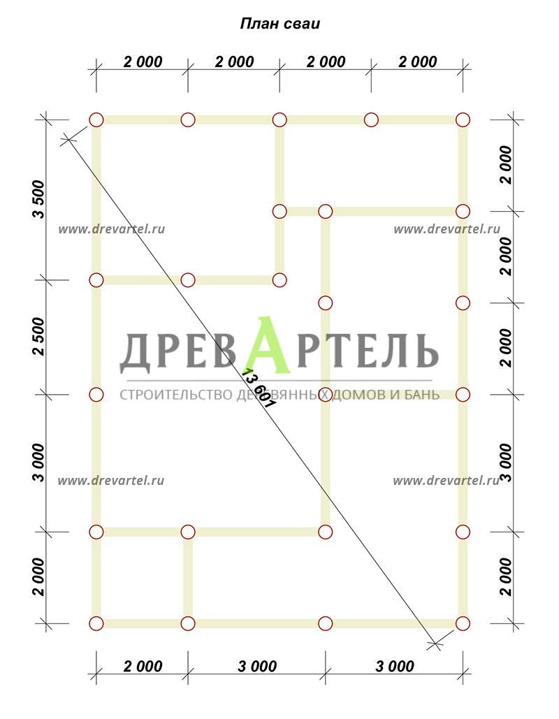План свайного фундамента - Дом из бруса с мансардой 8х11