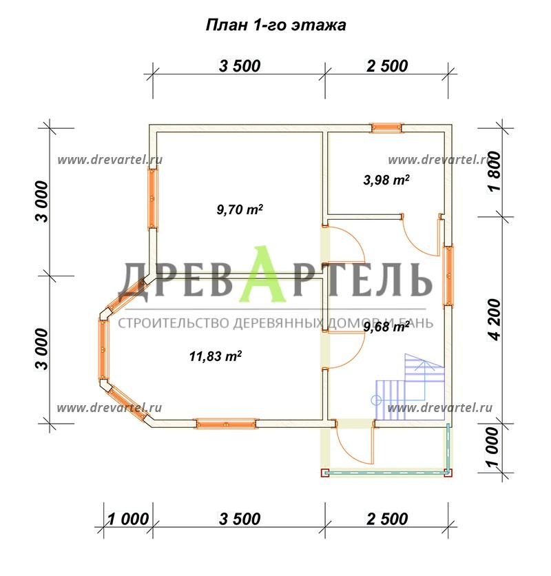 План 1-го этажа - Дачный дом с мансардой 6х6