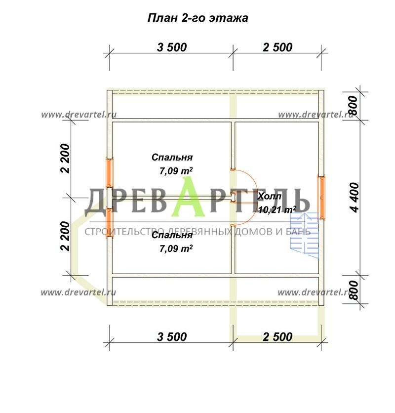 План 2-го этажа - Дачный дом с мансардой 6х6