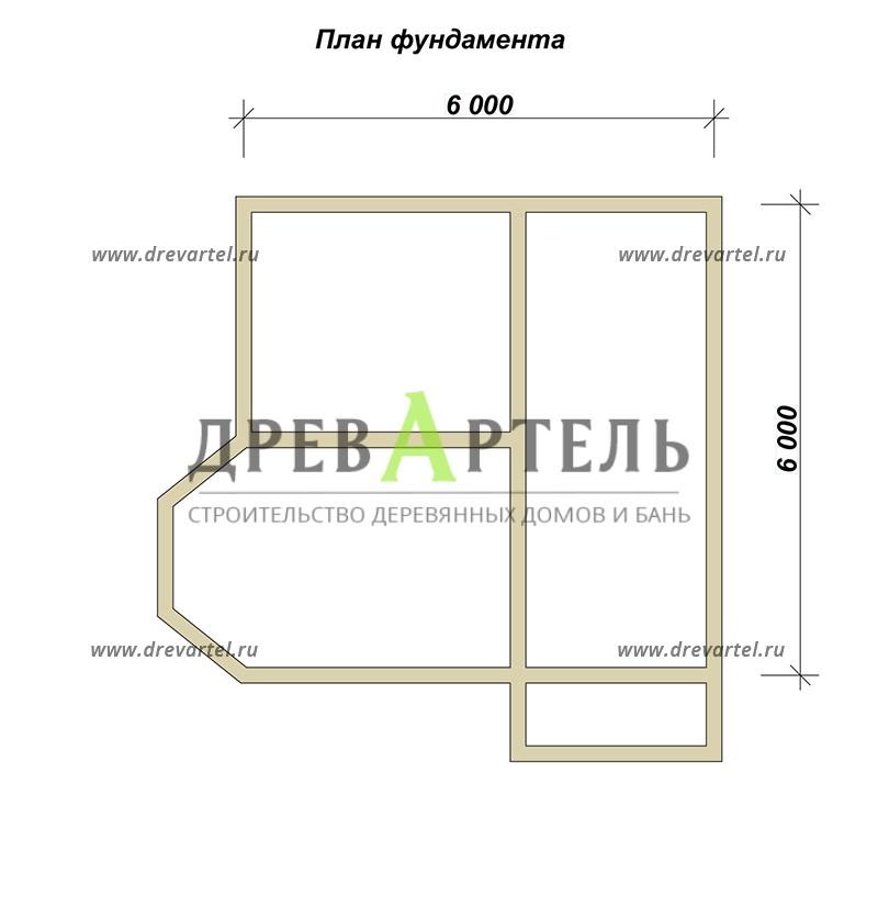 План ленточного фундамента - Дачный дом с мансардой 6х6