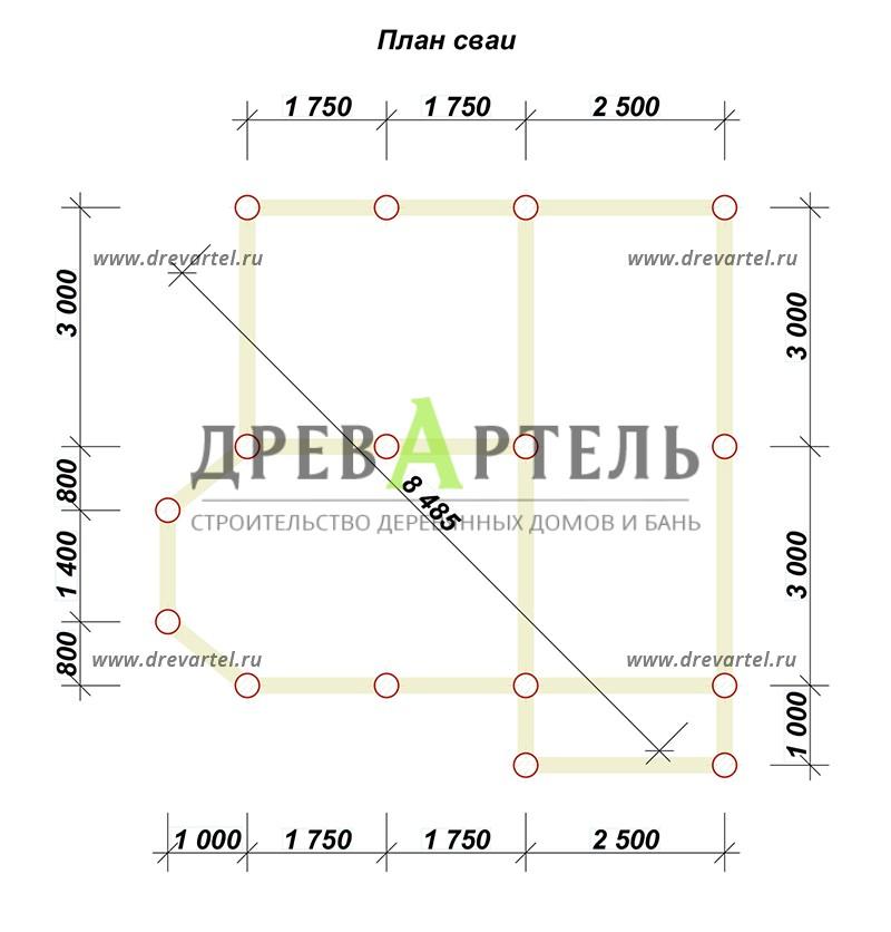 План свайного фундамента - Дачный дом с мансардой 6х6