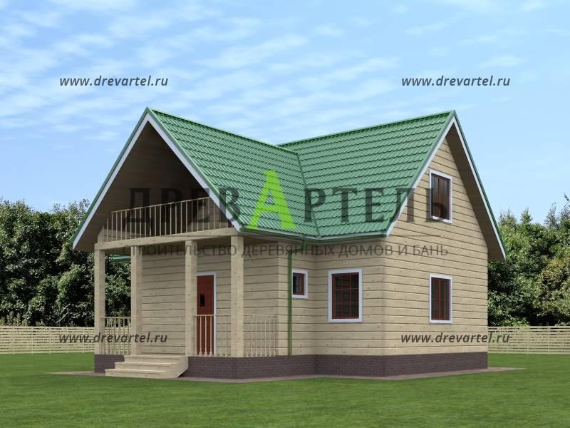 Проект дачного дома из бруса 6х8 с балконом москва.