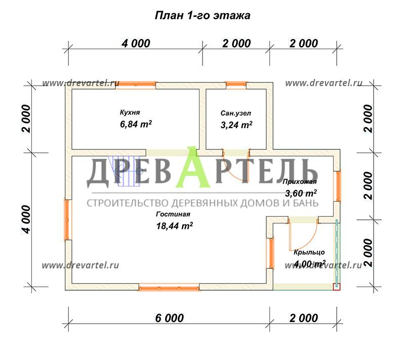 План 1-го этажа - Дачный дом из бруса 6х8