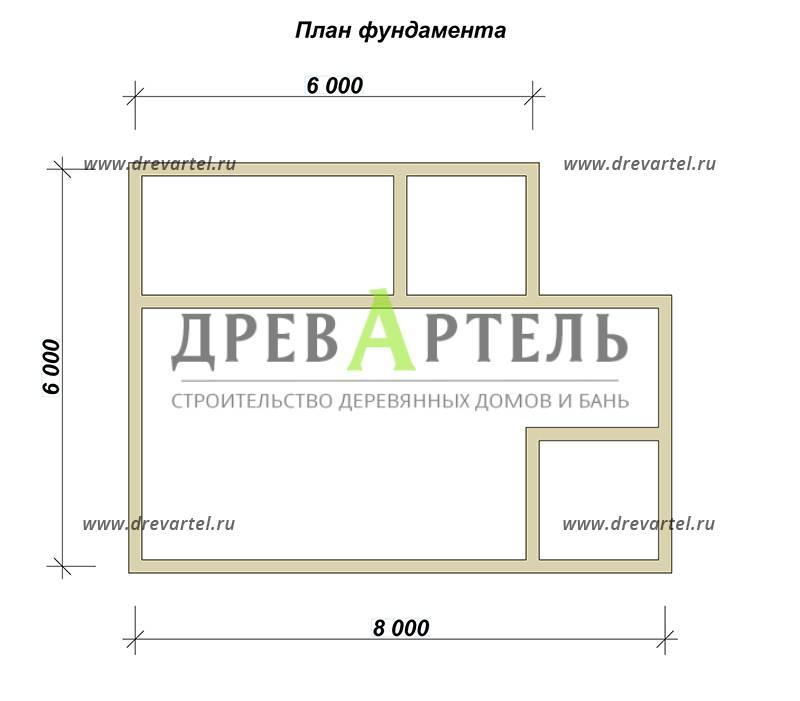 План ленточного фундамента - Дачный дом из бруса 6х8