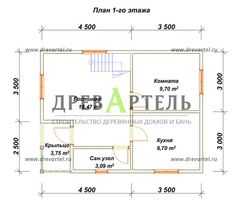 План 1-го этажа - Садовый дом из бруса 6х8 с мансардой