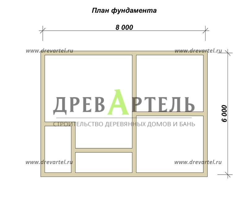 План ленточного фундамента - Садовый дом из бруса 6х8 с мансардой