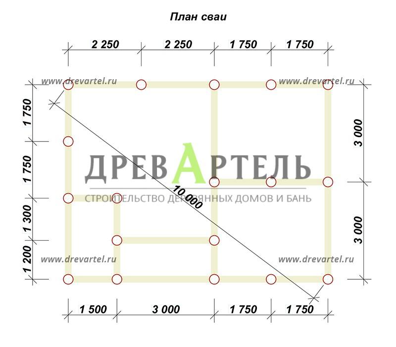 План свайного фундамента - Садовый дом из бруса 6х8 с мансардой