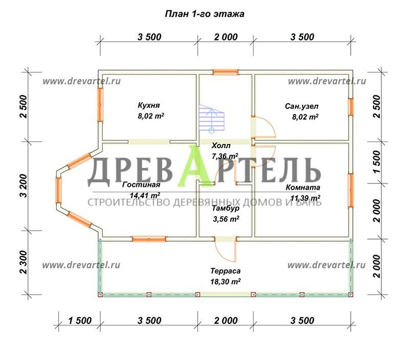 План 1-го этажа - Двухэтажный дом из бруса 6х9