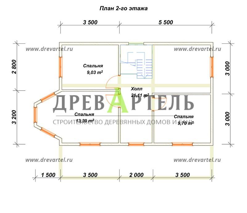 План 2-го этажа - Двухэтажный дом из бруса 6х9