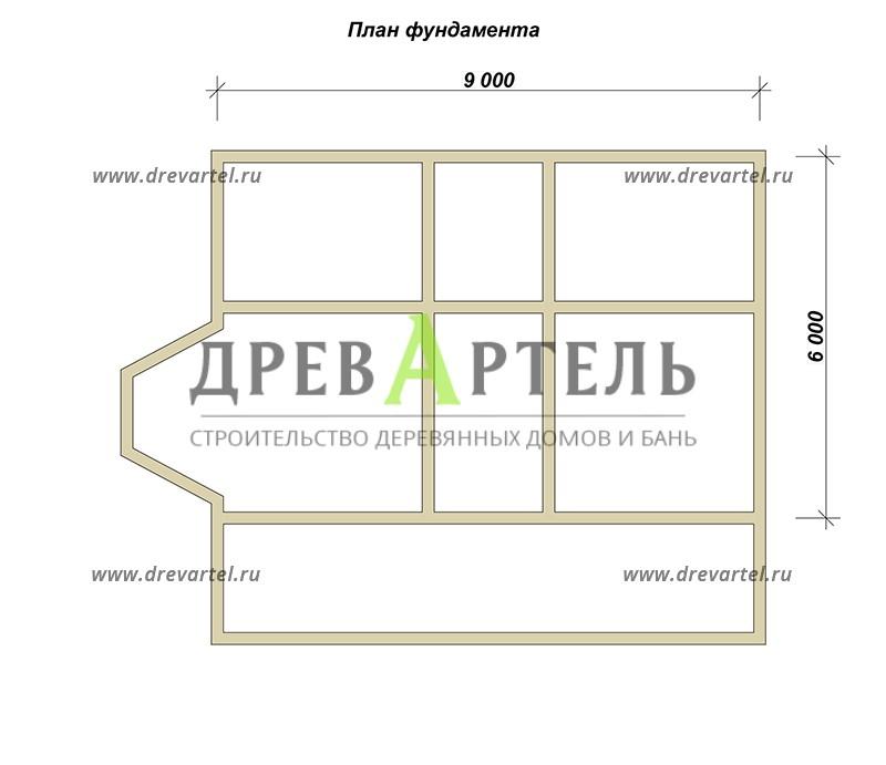 План ленточного фундамента - Двухэтажный дом из бруса 6х9