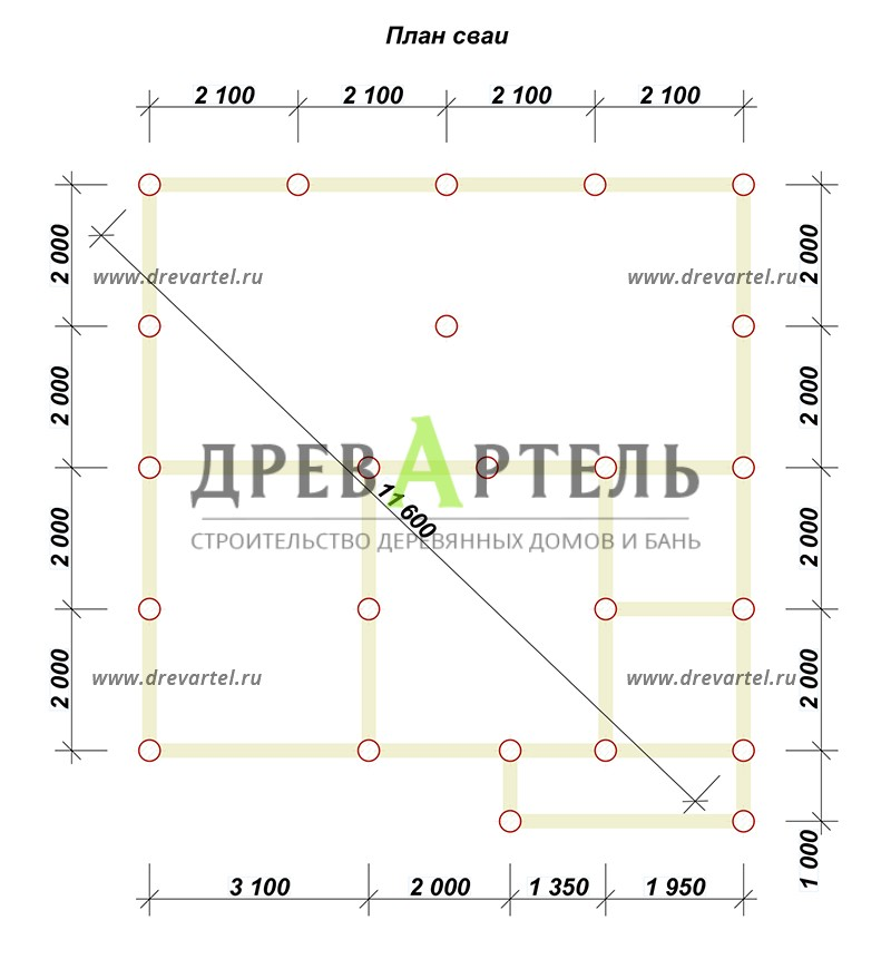 План свайного фундамента - Дом 8х8 из профилированного бруса с мансардой