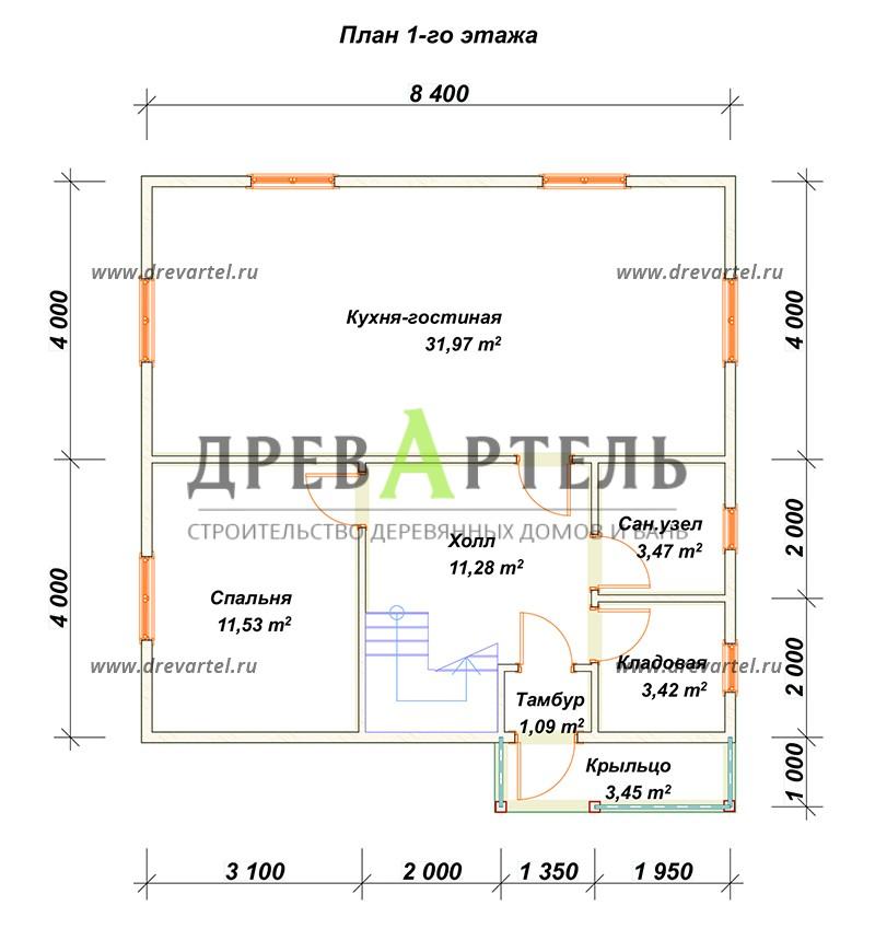 План 1-го этажа - Брусовой дом 8х8 с ломаной крышей