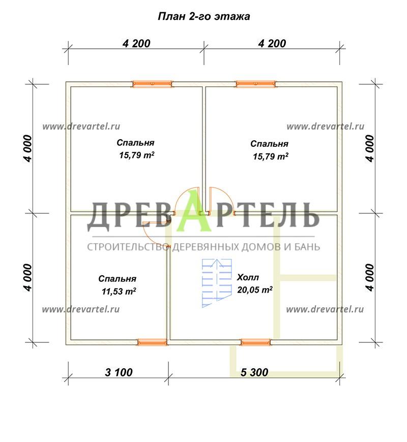План 2-го этажа - Брусовой дом 8х8 с ломаной крышей
