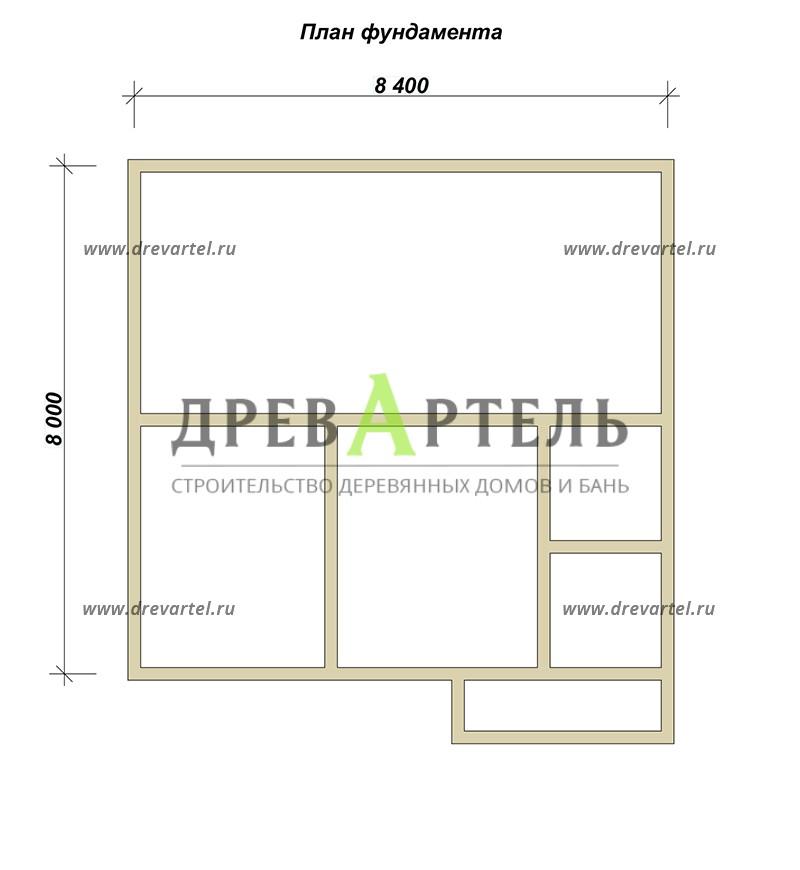 План ленточного фундамента - Брусовой дом 8х8 с ломаной крышей