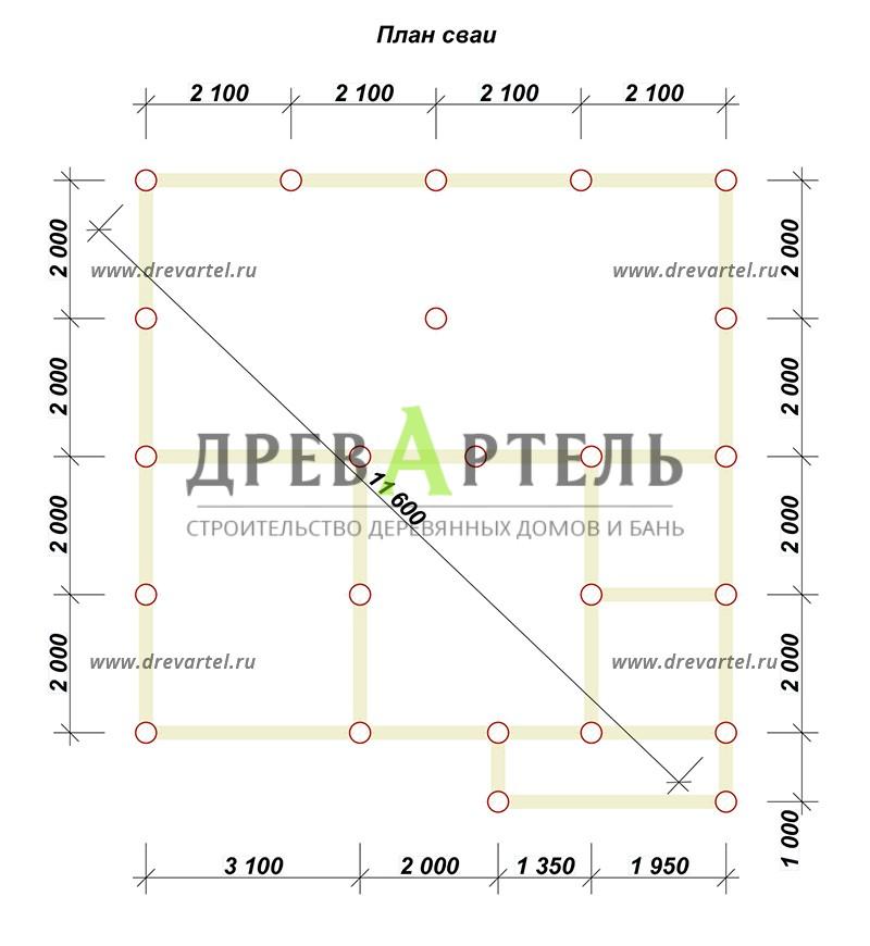 План свайного фундамента - Брусовой дом 8х8 с ломаной крышей