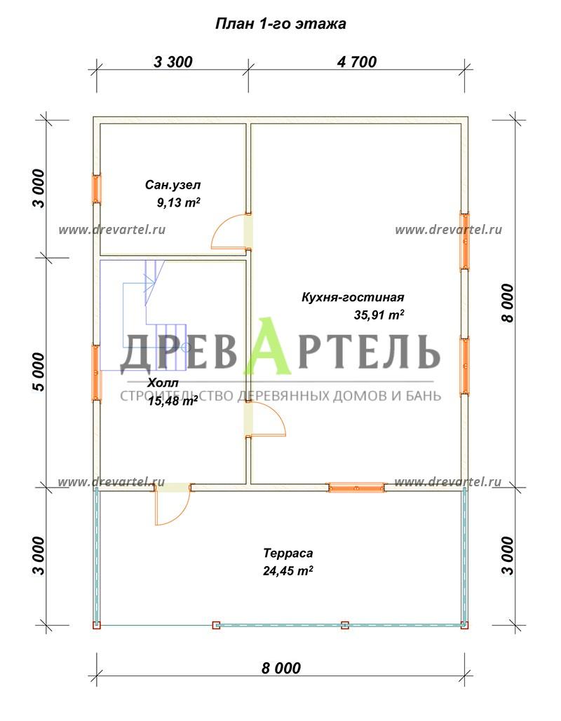 План 1-го этажа - Брусовой дом 8х8 с большой открытой террасой