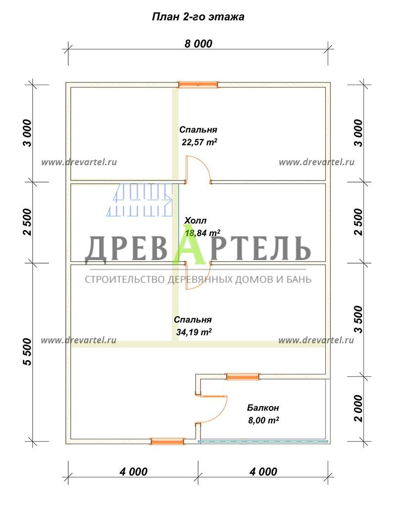 План 2-го этажа - Брусовой дом 8х8 с большой открытой террасой