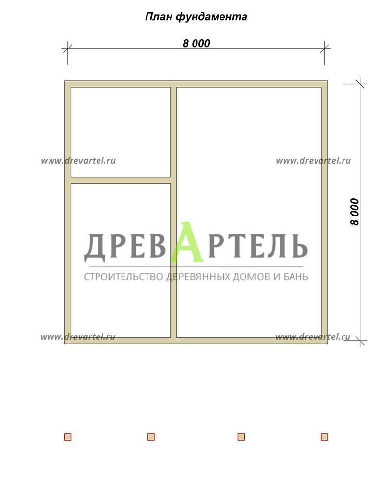 План ленточного фундамента - Брусовой дом 8х8 с большой открытой террасой