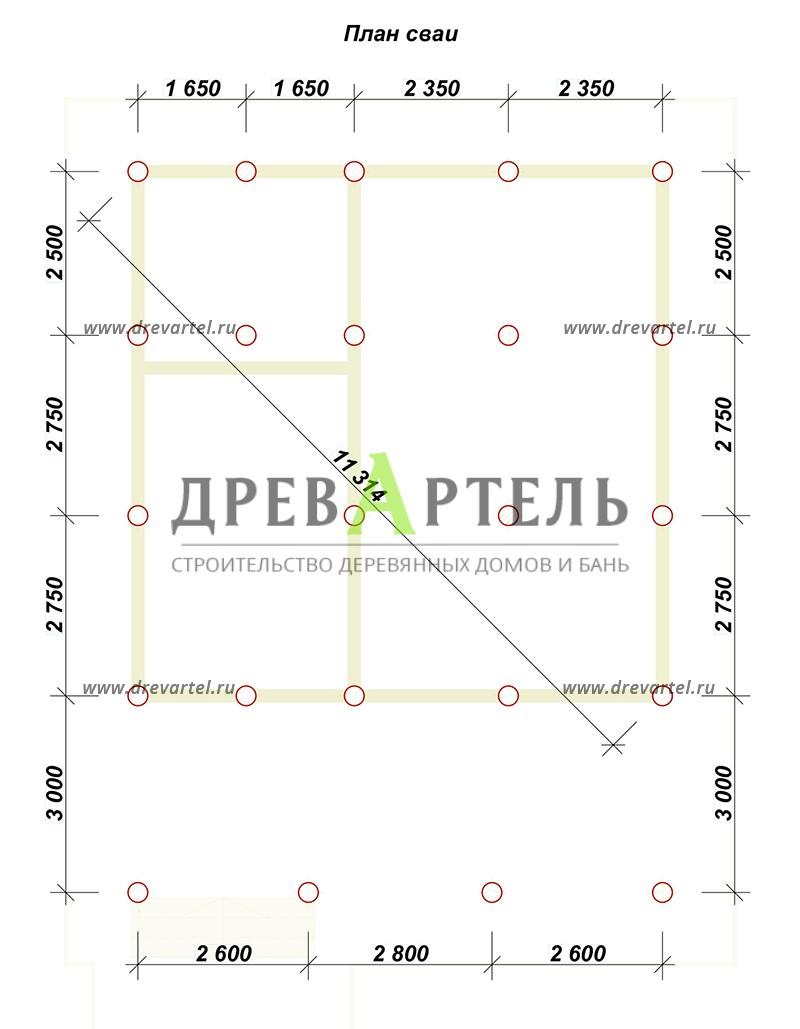 План свайного фундамента - Брусовой дом 8х8 с большой открытой террасой