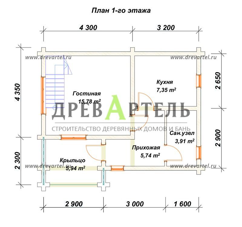 План 1-го этажа - Дом из бруса 5х7