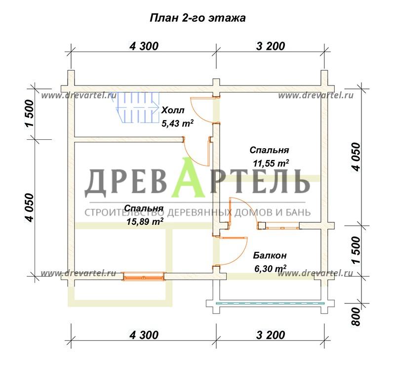 План 2-го этажа - Дом из бруса 5х7
