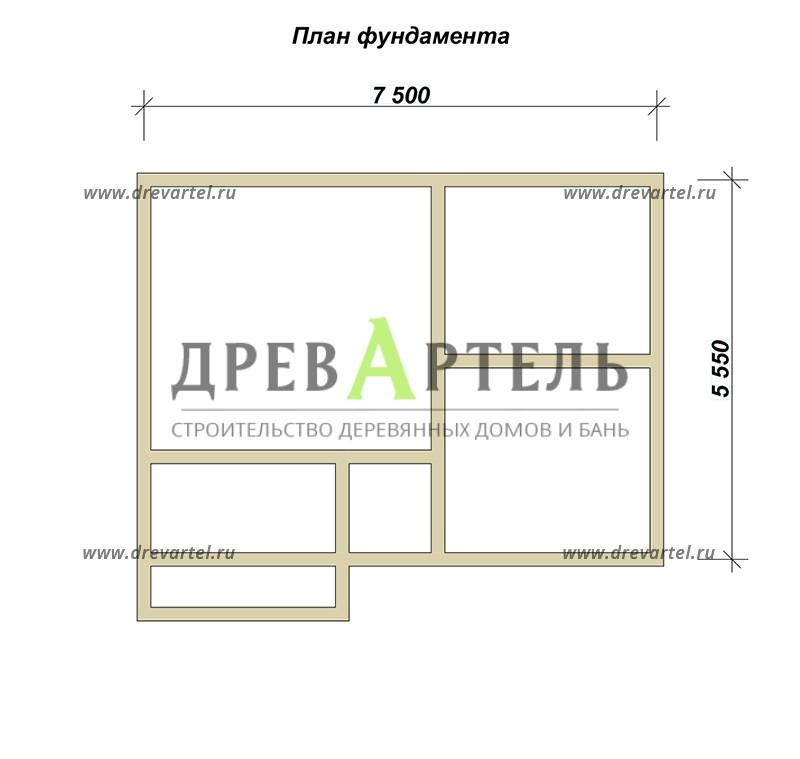План ленточного фундамента - Дом из бруса 5х7