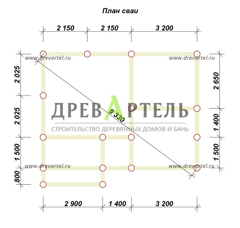 План свайного фундамента - Дом из бруса 5х7