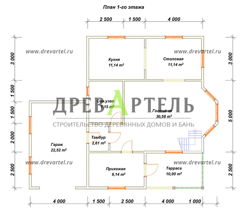 План 1-го этажа - Дом из бруса 8х10 с гаражом