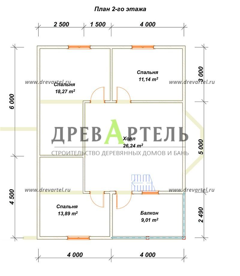План 2-го этажа - Дом из бруса 8х10 с гаражом