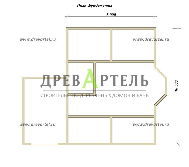 План ленточного фундамента - Дом из бруса 8х10 с гаражом