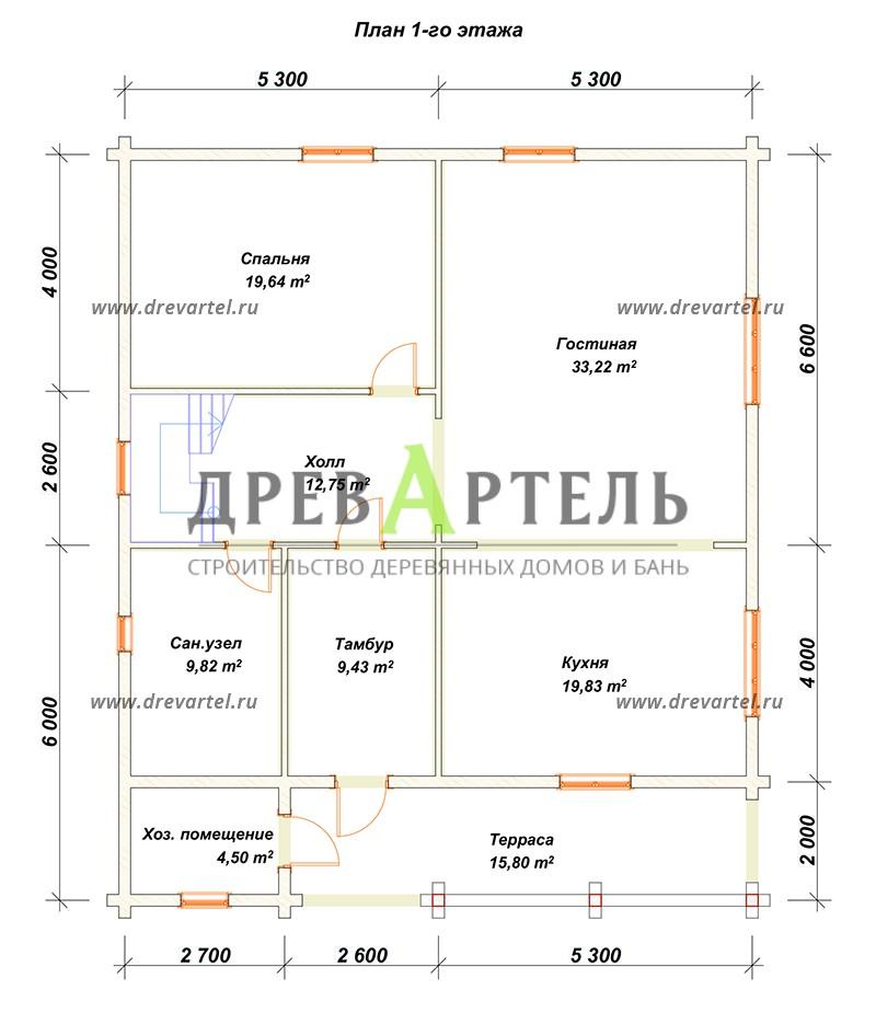 План 1-го этажа - Дом из бруса 10х12
