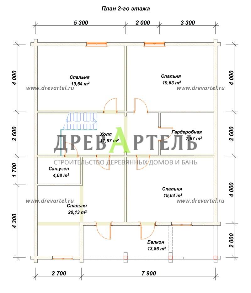 План 2-го этажа - Дом из бруса 10х12