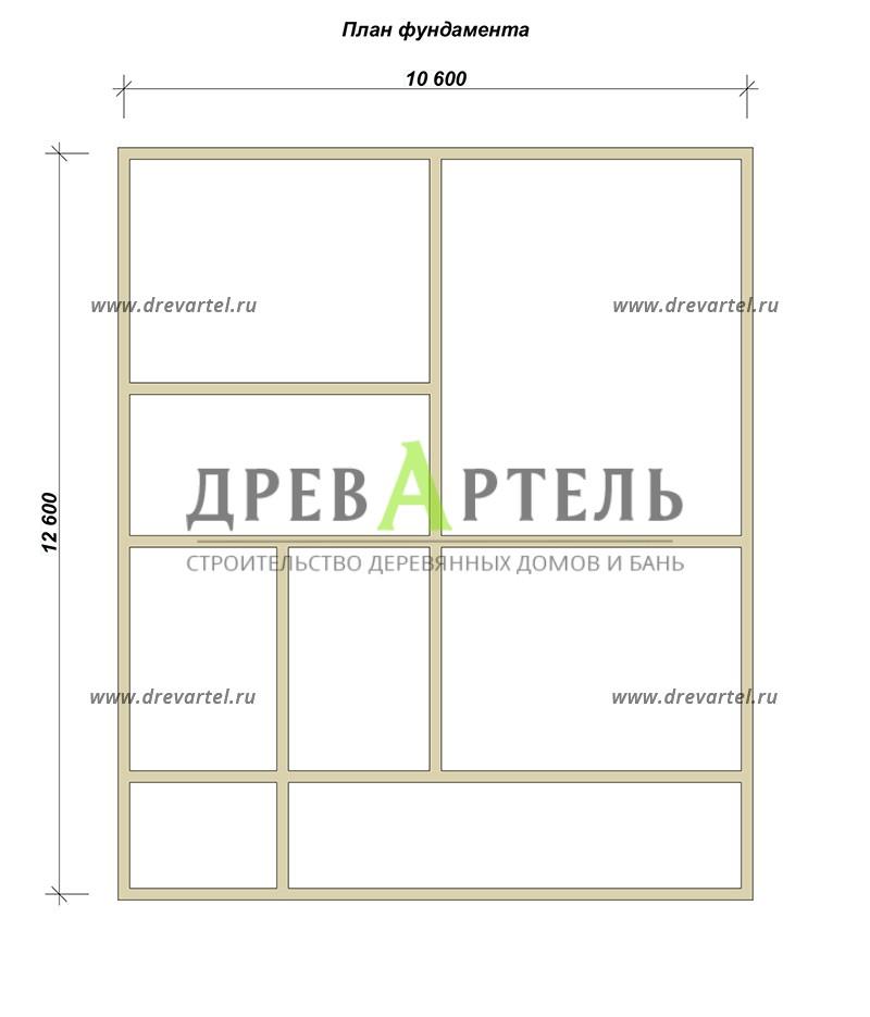 План ленточного фундамента - Дом из бруса 10х12