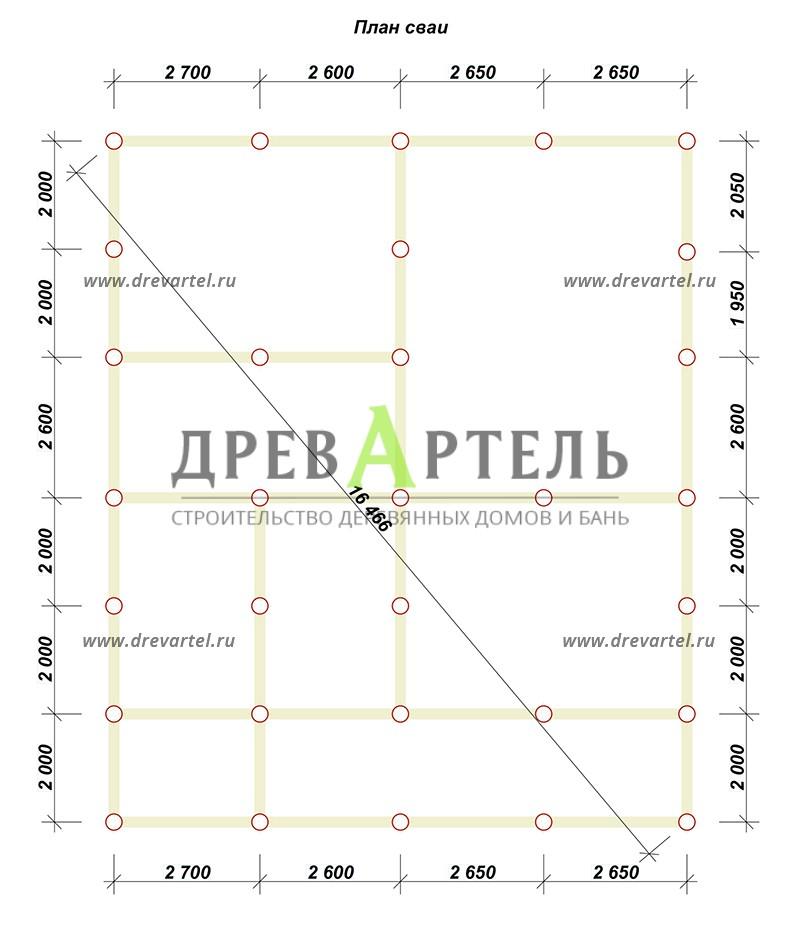 План свайного фундамента - Дом из бруса 10х12