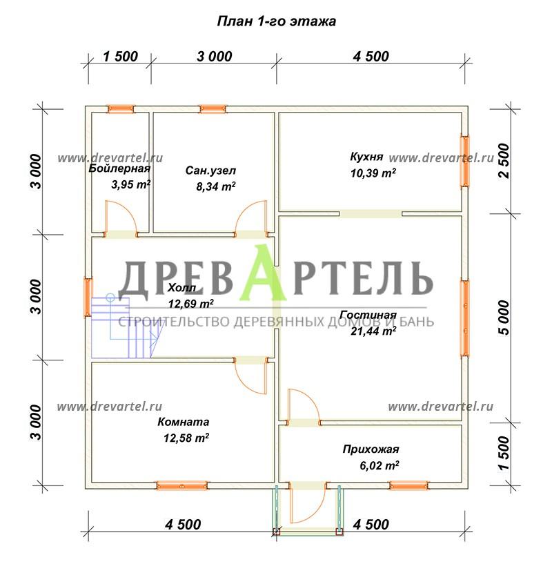 План 1-го этажа - Проект двухэтажного дома 9х9
