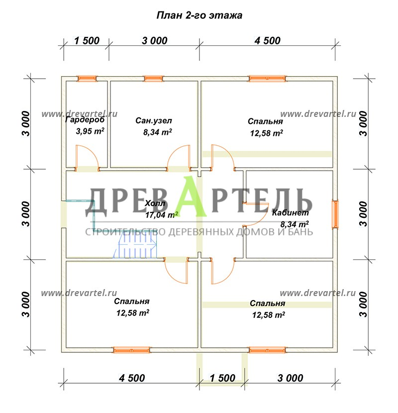План 2-го этажа - Проект двухэтажного дома 9х9