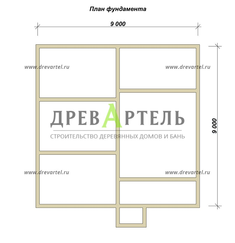 План ленточного фундамента - Проект двухэтажного дома 9х9
