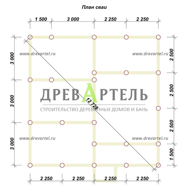План свайного фундамента - Проект двухэтажного дома 9х9