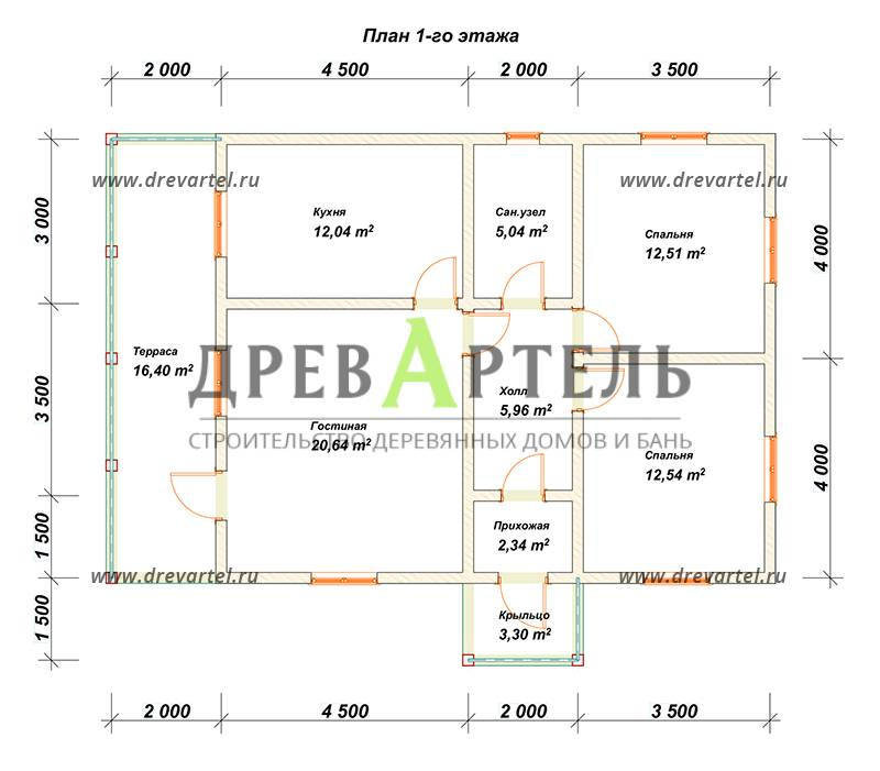 План 1-го этажа - Проект дома из бруса 8х12