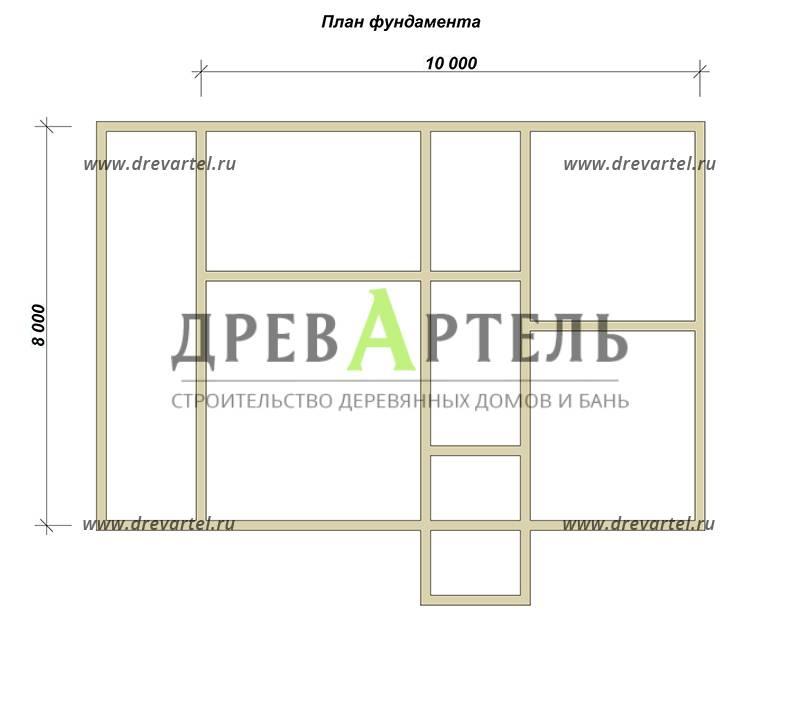 План ленточного фундамента - Проект дома из бруса 8х12