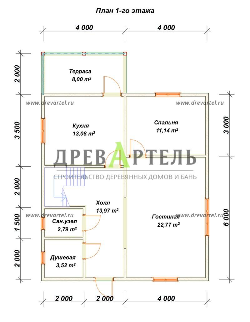 План 1-го этажа - Дом из бруса 8 на 9 м с террасой