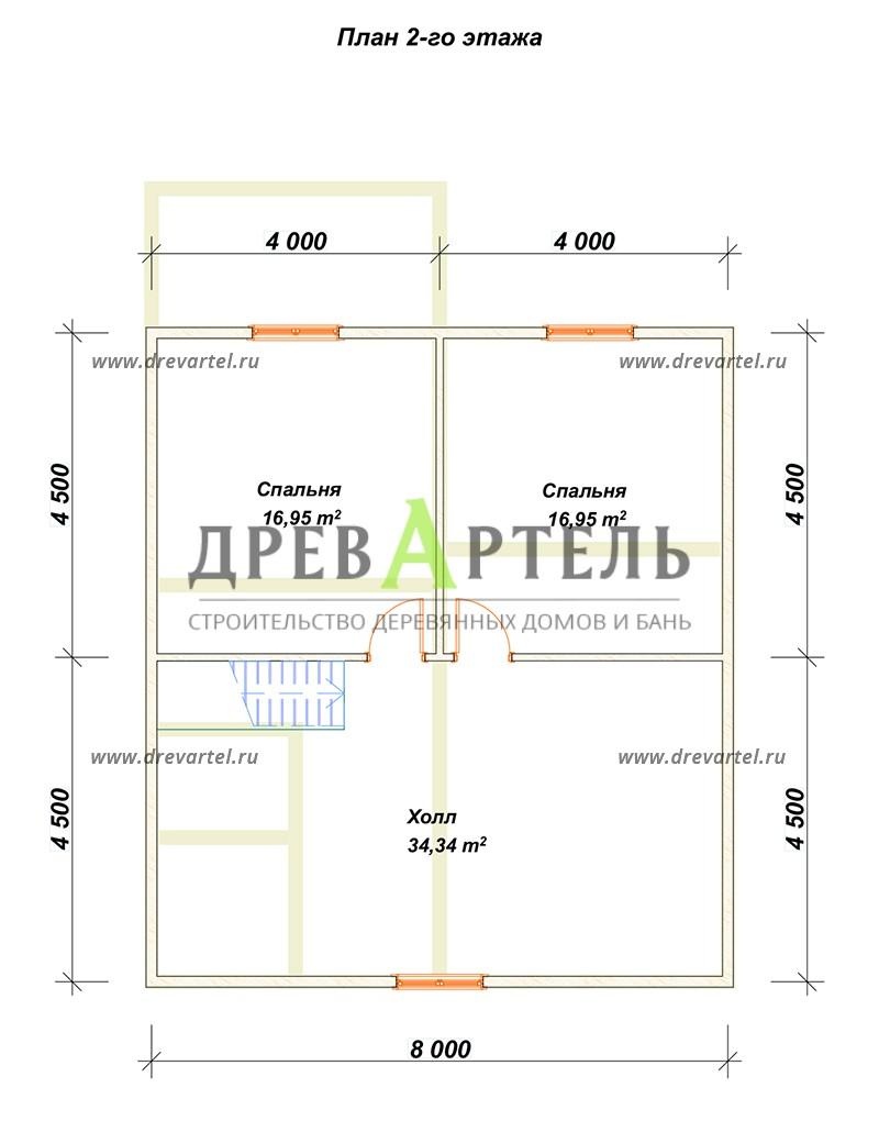 План 2-го этажа - Дом из бруса 8 на 9 м с террасой