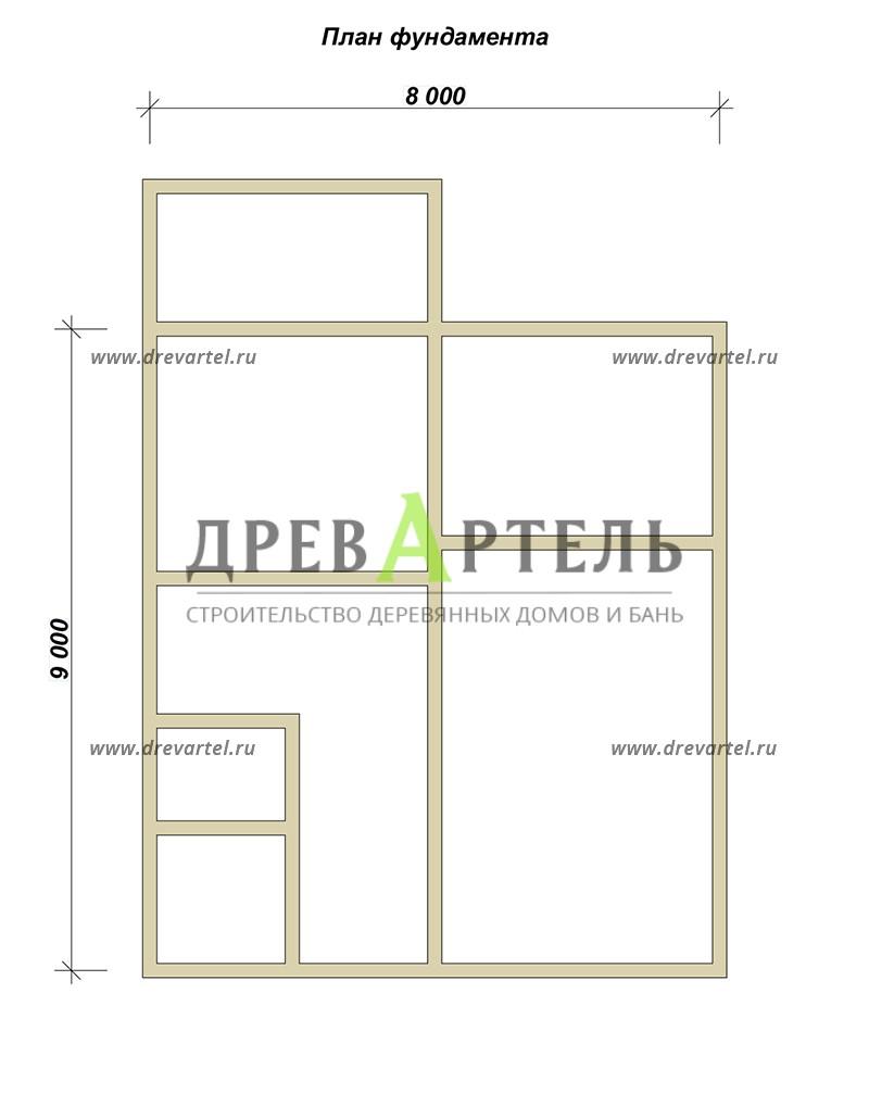 План ленточного фундамента - Дом из бруса 8 на 9 м с террасой
