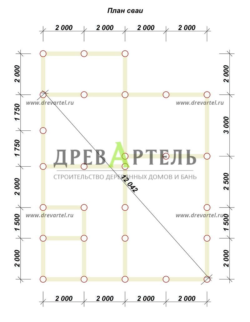 План свайного фундамента - Дом из бруса 8 на 9 м с террасой