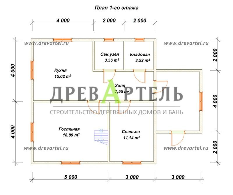 План 1-го этажа - Брусовой дом 8х8 с мансардой