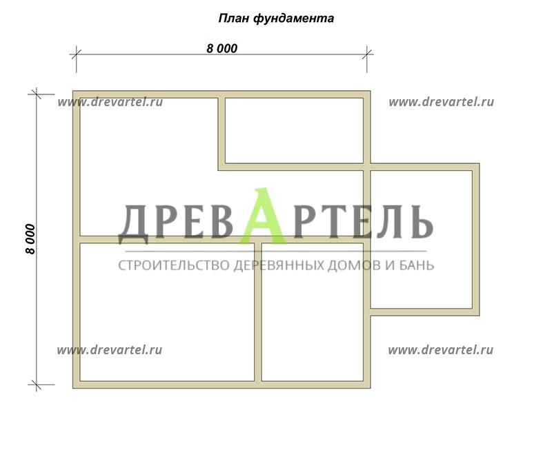 План ленточного фундамента - Брусовой дом 8х8 с мансардой