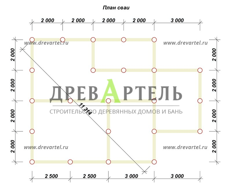 План свайного фундамента - Брусовой дом 8х8 с мансардой