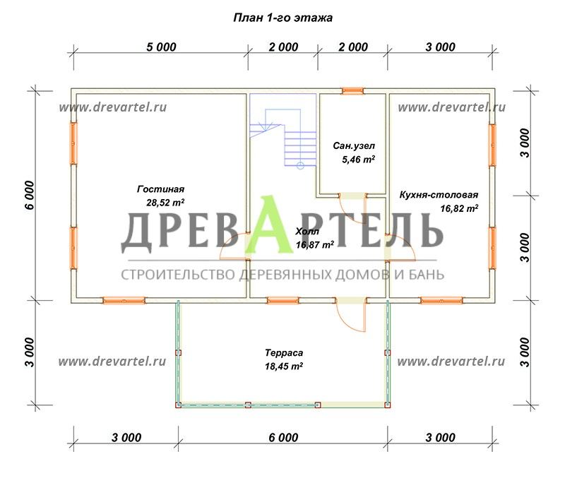 План 1-го этажа - Деревянный дом из бруса 6х8